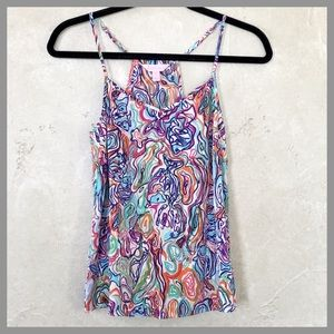 Lilly Pulitzer What A Catch Silk Dusk Tank Top